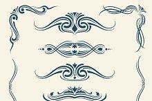 Vintage calligraphic floral elements