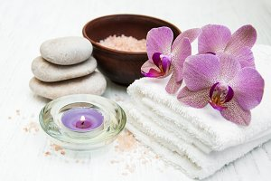 Spa concept with orchids flowers