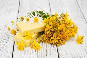 Handmade soap with wildflowers