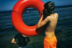 Boy inflates circle