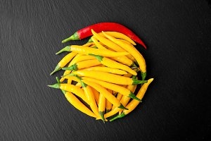 Hot Yellow and Red Chili Peppers