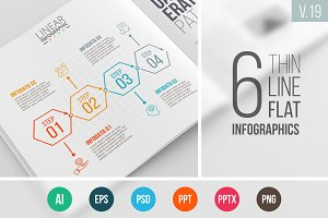 Linear elements for infographic v.19
