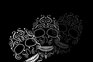 Skull vector ornament white