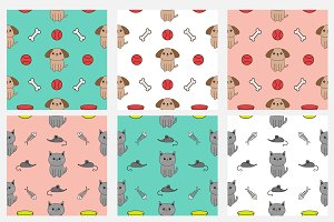 Seamless Pattern with dog and cat