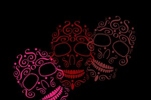 Skull ornament pink color