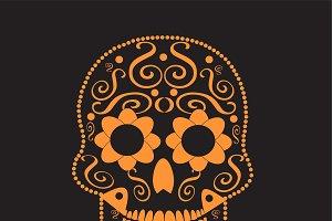 Skull ornament orange color