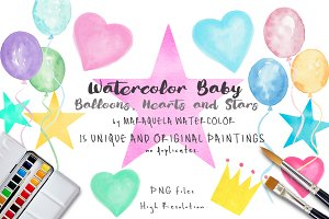 Watercolor Baby Balloons,Heart,Stars