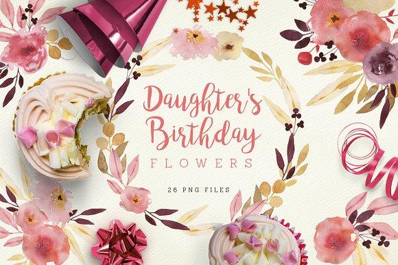 Daughters Birthday Flowers Illustrations Creative Market