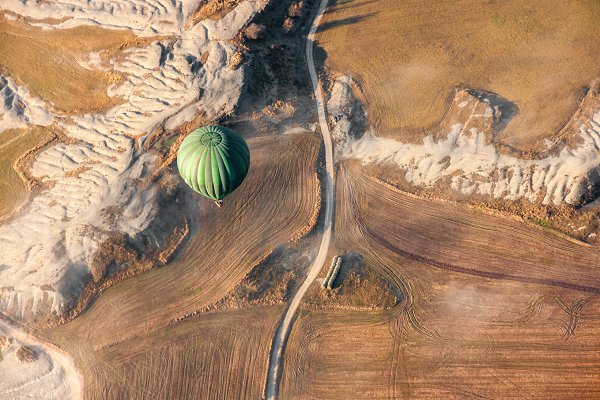 Aerial View of Air Balloon Landing