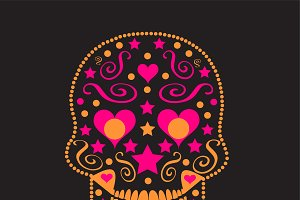 Skull with heart eyes