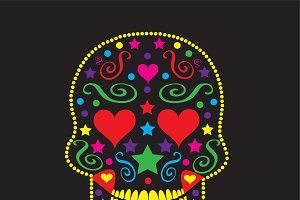 Skull with heart eyes vector