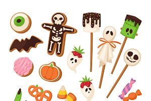 Halloween sweets vector set