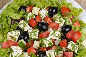 Salad of lettuce with diced olives