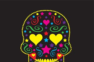 Skull with yellow heart eyes  vector
