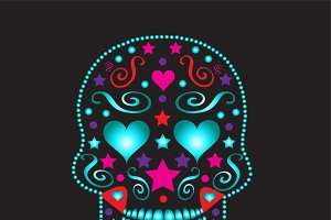 Skull with heart eyes neon color