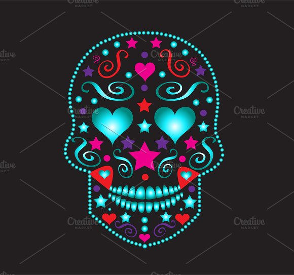 skull with heart eyes neon color icons