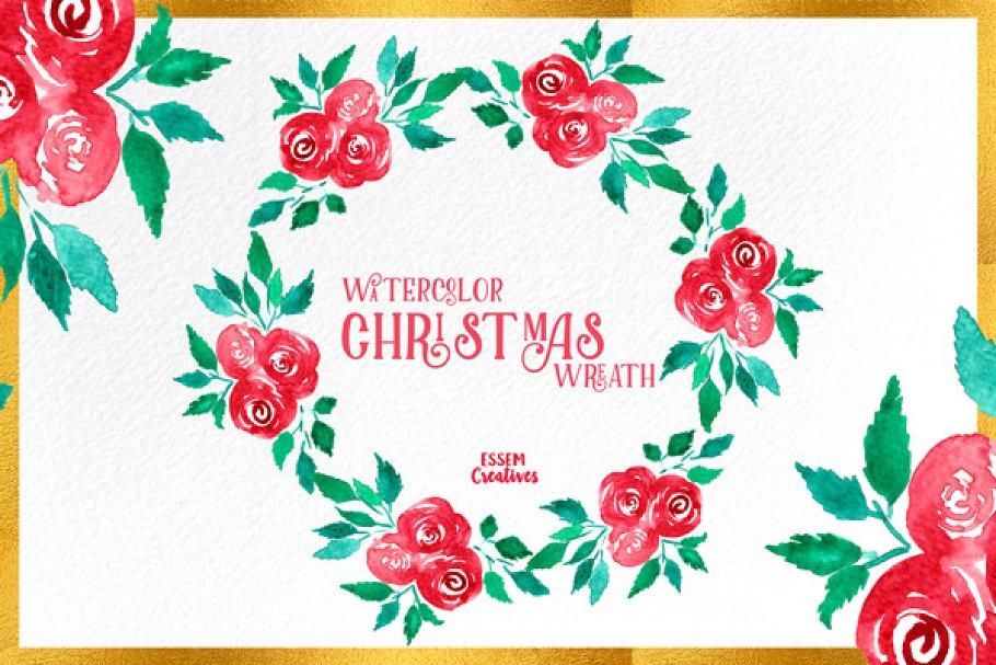 Watercolor Christmas Wreath Illustrations Creative Market