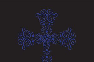 Cross ornament blue color vector