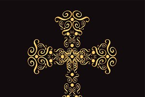 Ornament cross gold color vector