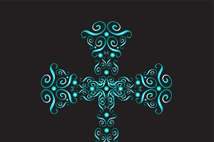 Ornament cross neon color vector