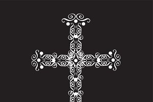 Cross vector ornament white