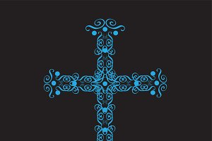 Cross ornament neon blue color