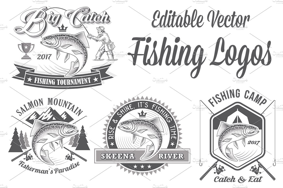 Vector Editable Fishing Logos ~ Logo Templates ~ Creative