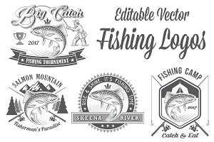 Vector Editable Fishing Logos