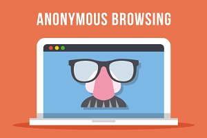 Anonymous Browsing Flat Illustration