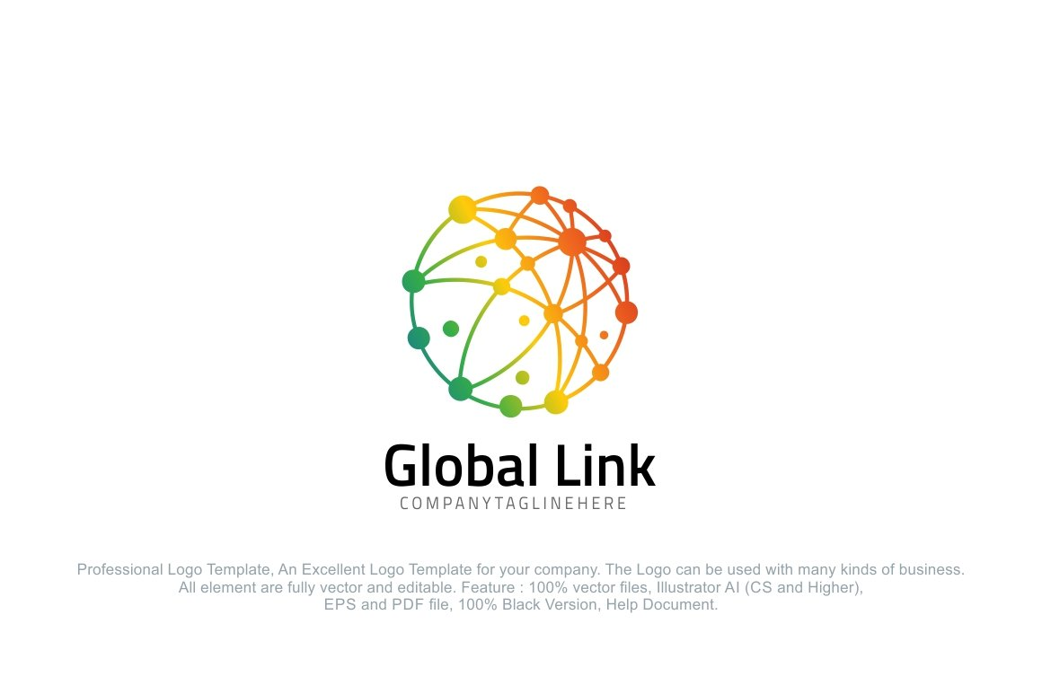 Global link colorful dot globe logo templates for Global design company