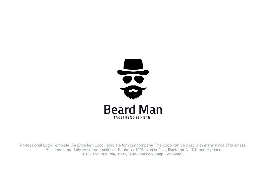 Beard Man Hipster Logo Template Logo Templates Creative Market