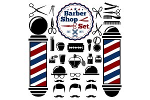 Vector Barber Shop accessories set.