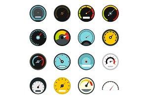 Speedometer icons set, flat style