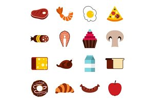 Food icons set, flat style