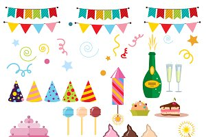 Happy birthday party symbols