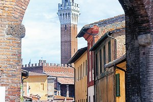 Tower in the city of Siena in Italy