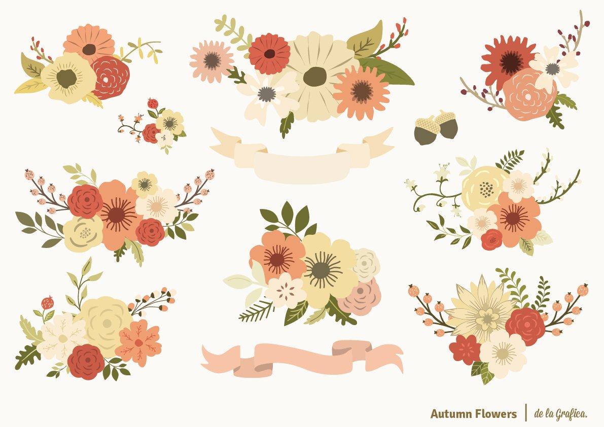 Autumn Flowers Set ~ Illustrations ~ Creative Market