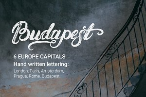 Europe capitals lettering