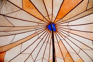 Texture abstract of an umbrella in orange