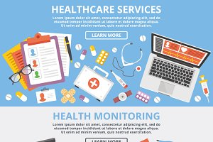 Healthcare Services Web Banners Set