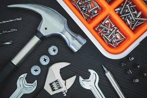 Tools on black background #2