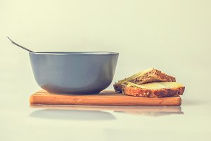 Bowl with soup and bread