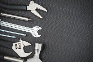 Tools on black background #6