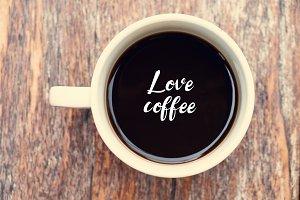 Write word love coffee