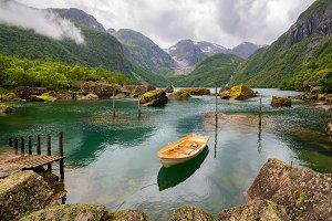 Boat in a Lake in Norway