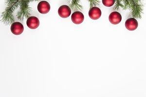 Christmas tree balls on white