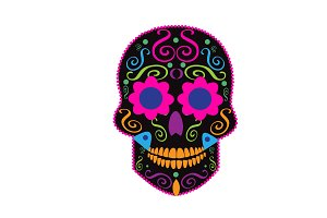 Skull neon pink color vector