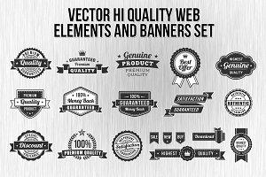 Black and White Web elements set