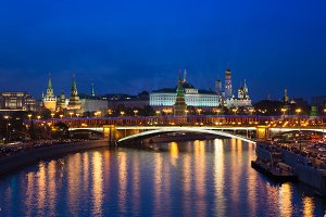 Moscow Kremlin at dusk, Russia