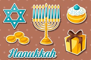 Hanukkah celebration stickers.